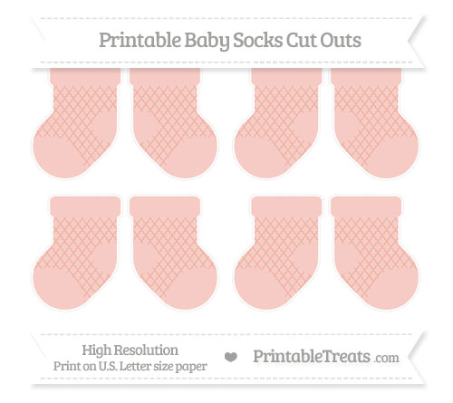 Free Pastel Coral Moroccan Tile Small Baby Socks Cut Outs