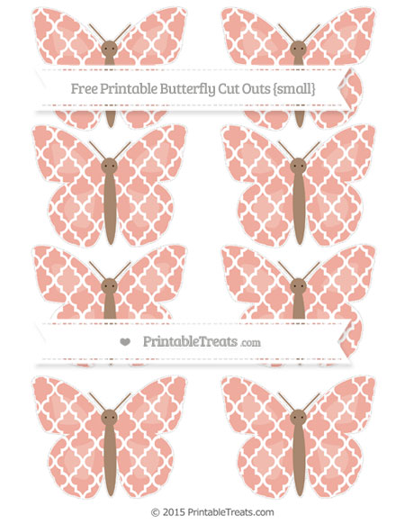 Free Pastel Coral Moroccan Tile Small Butterfly Cut Outs
