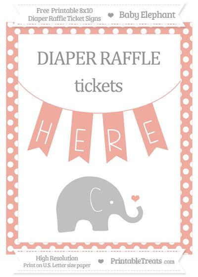 Free Pastel Coral Polka Dot Baby Elephant 8x10 Diaper Raffle Ticket Sign