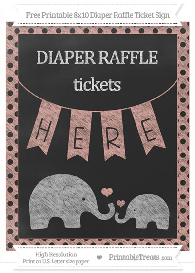 Free Pastel Coral Polka Dot Chalk Style Elephant 8x10 Diaper Raffle Ticket Sign