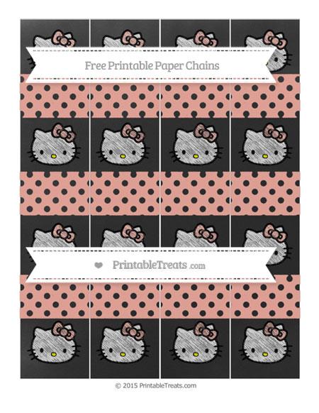 Free Pastel Coral Polka Dot Chalk Style Hello Kitty Paper Chains