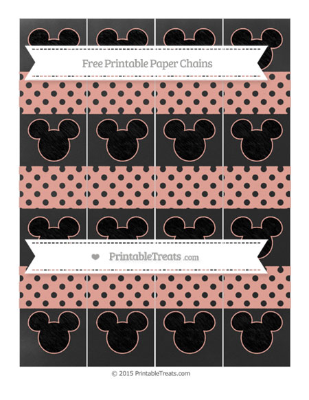 Free Pastel Coral Polka Dot Chalk Style Mickey Mouse Paper Chains