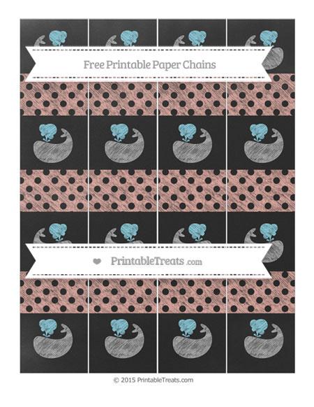 Free Pastel Coral Polka Dot Chalk Style Whale Paper Chains