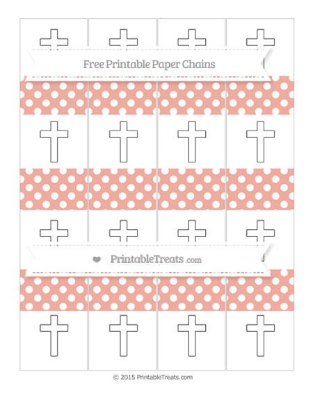 Free Pastel Coral Polka Dot Cross Paper Chains