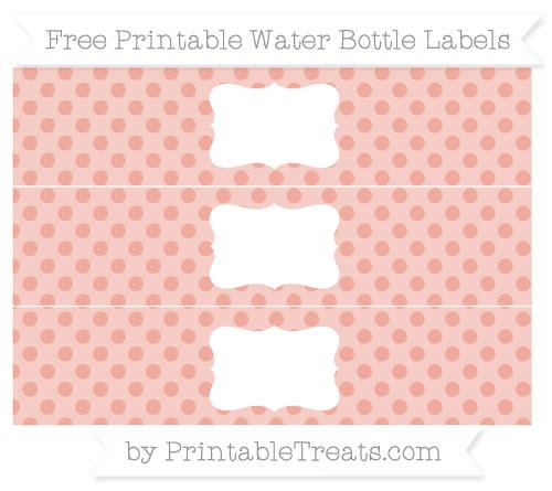 Free Pastel Coral Polka Dot Water Bottle Labels