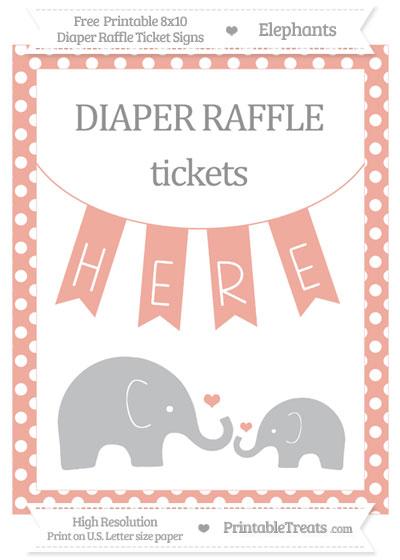 Free Pastel Coral Polka Dot Elephant 8x10 Diaper Raffle Ticket Sign