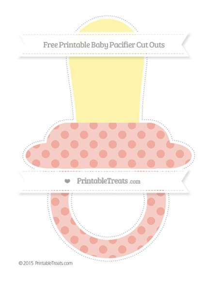 Free Pastel Coral Polka Dot Extra Large Baby Pacifier Cut Outs