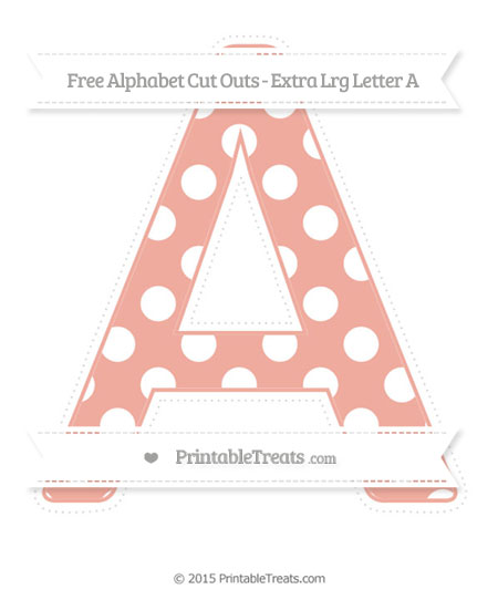 Free Pastel Coral Polka Dot Extra Large Capital Letter A Cut Outs