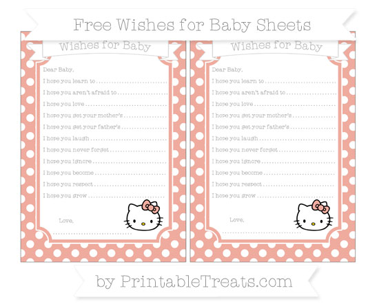 Free Pastel Coral Polka Dot Hello Kitty Wishes for Baby Sheets