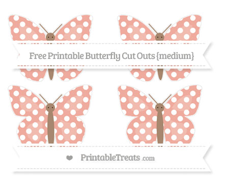 Free Pastel Coral Polka Dot Medium Butterfly Cut Outs