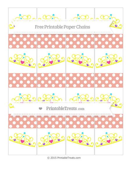 Free Pastel Coral Polka Dot Princess Tiara Paper Chains