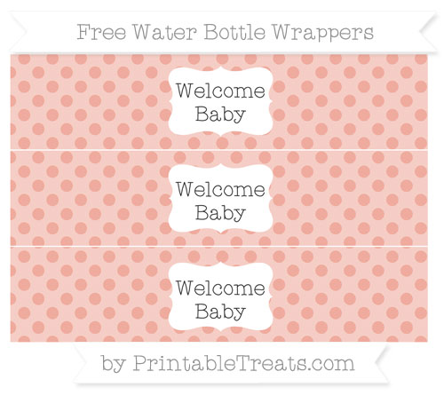 Free Pastel Coral Polka Dot Welcome Baby Water Bottle Wrappers