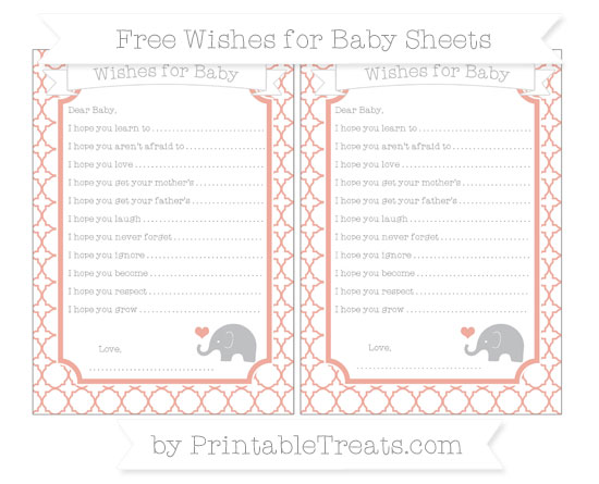 Free Pastel Coral Quatrefoil Pattern Baby Elephant Wishes for Baby Sheets