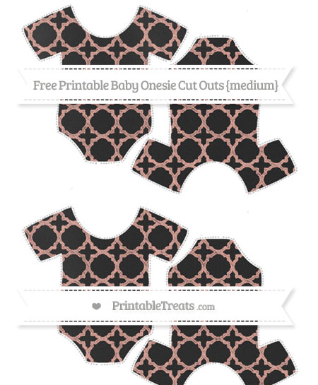 Free Pastel Coral Quatrefoil Pattern Chalk Style Medium Baby Onesie Cut Outs