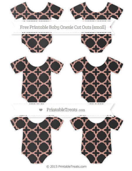 Free Pastel Coral Quatrefoil Pattern Chalk Style Small Baby Onesie Cut Outs