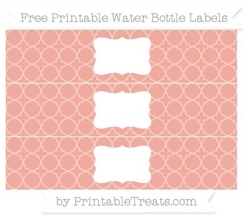 Free Pastel Coral Quatrefoil Pattern Water Bottle Labels