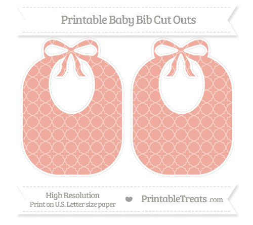 Free Pastel Coral Quatrefoil Pattern Large Baby Bib Cut Outs
