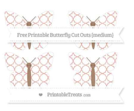 Free Pastel Coral Quatrefoil Pattern Medium Butterfly Cut Outs