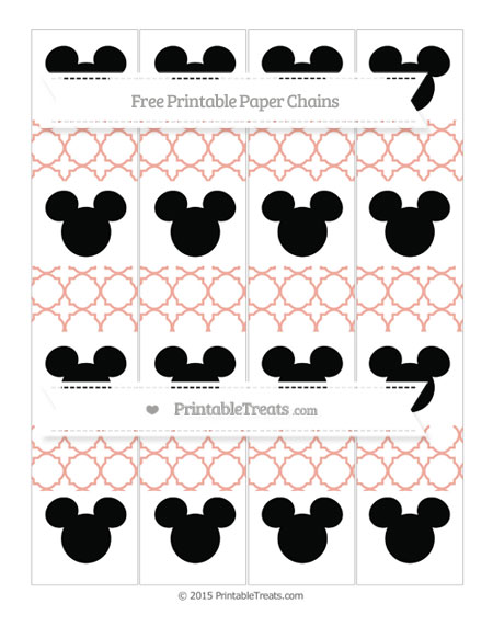 Free Pastel Coral Quatrefoil Pattern Mickey Mouse Paper Chains