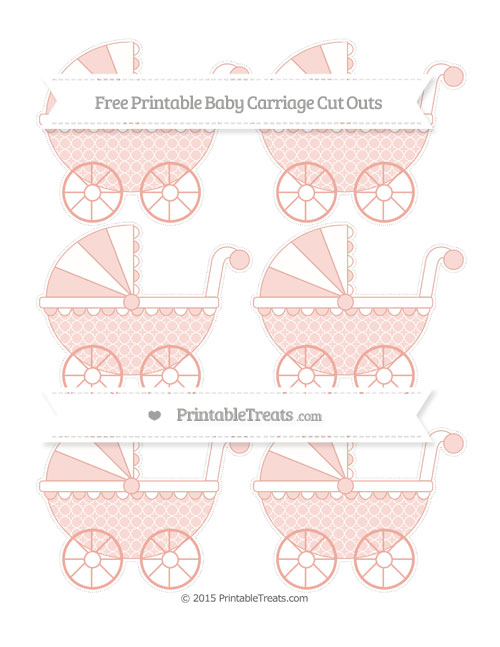 Free Pastel Coral Quatrefoil Pattern Small Baby Carriage Cut Outs