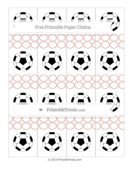 Free Pastel Coral Quatrefoil Pattern Soccer Paper Chains