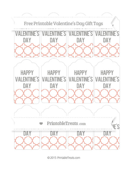 Free Pastel Coral Quatrefoil Pattern Valentine's Day Gift Tags