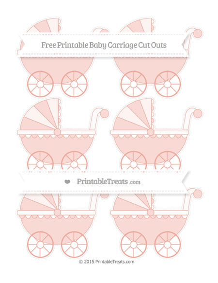 Free Pastel Coral Small Baby Carriage Cut Outs