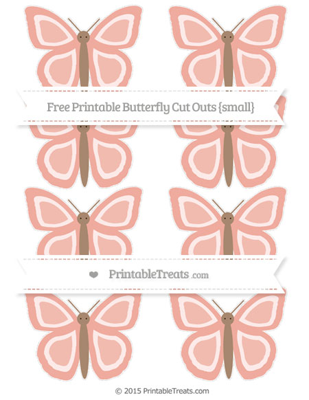 Free Pastel Coral Small Butterfly Cut Outs
