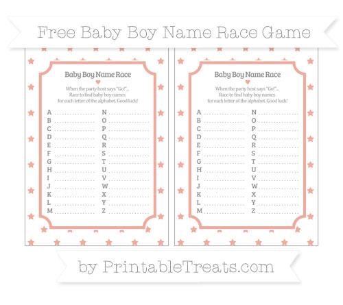 Free Pastel Coral Star Pattern Baby Boy Name Race Game