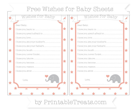 Free Pastel Coral Star Pattern Baby Elephant Wishes for Baby Sheets