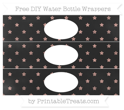 Free Pastel Coral Star Pattern Chalk Style DIY Water Bottle Wrappers