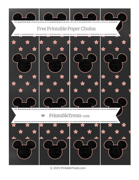 Free Pastel Coral Star Pattern Chalk Style Mickey Mouse Paper Chains