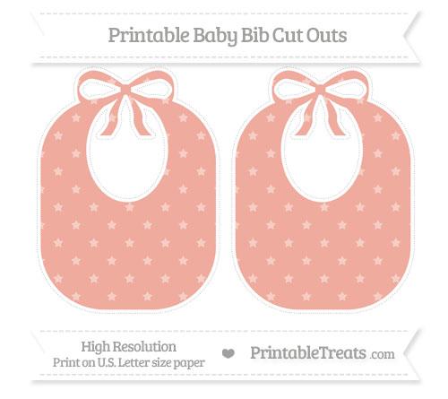 Free Pastel Coral Star Pattern Large Baby Bib Cut Outs