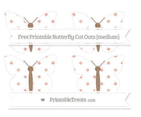 Free Pastel Coral Star Pattern Medium Butterfly Cut Outs