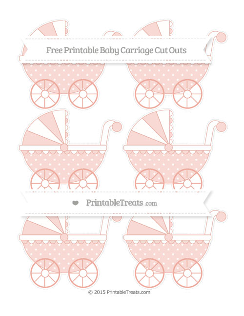 Free Pastel Coral Star Pattern Small Baby Carriage Cut Outs