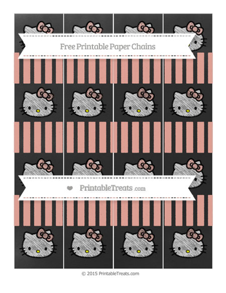 Free Pastel Coral Striped Chalk Style Hello Kitty Paper Chains