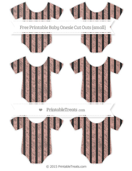 Free Pastel Coral Striped Chalk Style Small Baby Onesie Cut Outs