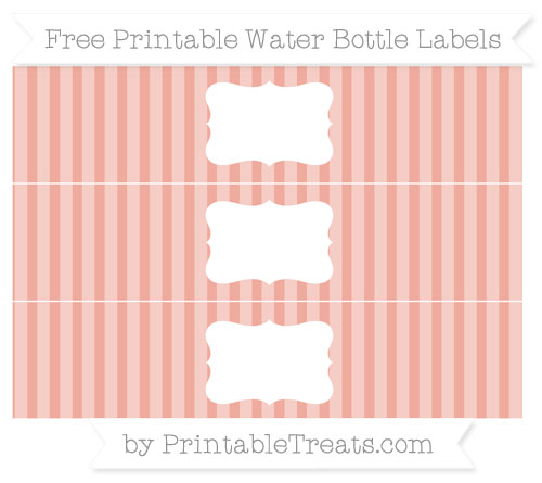 Free Pastel Coral Striped Water Bottle Labels