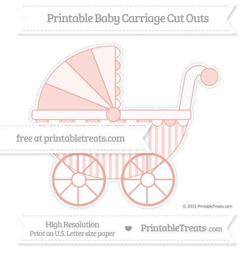 Free Pastel Coral Striped Extra Large Baby Carriage Cut Outs