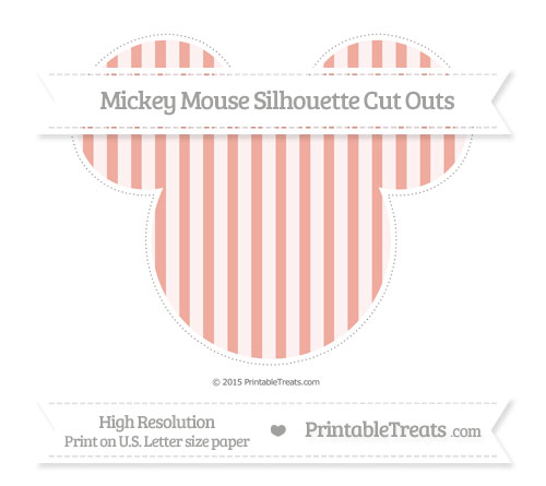 Free Pastel Coral Striped Extra Large Mickey Mouse Silhouette Cut Outs