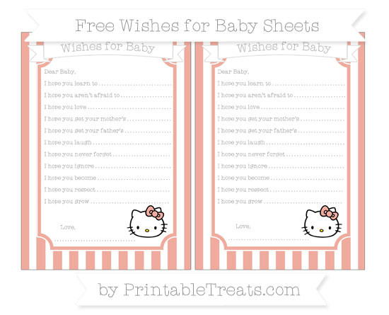 Free Pastel Coral Striped Hello Kitty Wishes for Baby Sheets