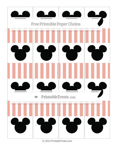 Free Pastel Coral Striped Mickey Mouse Paper Chains