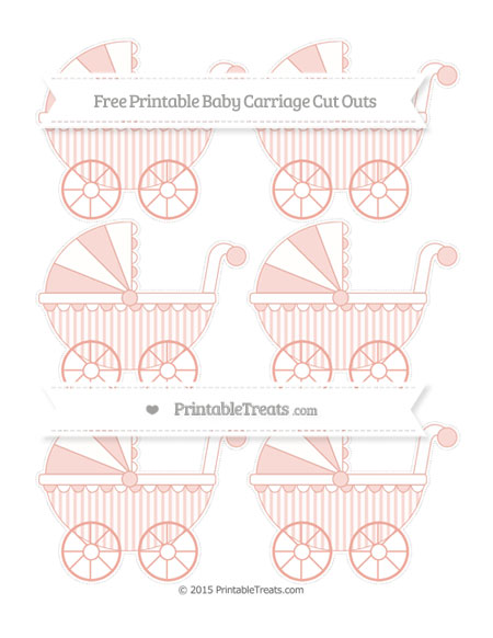 Free Pastel Coral Striped Small Baby Carriage Cut Outs