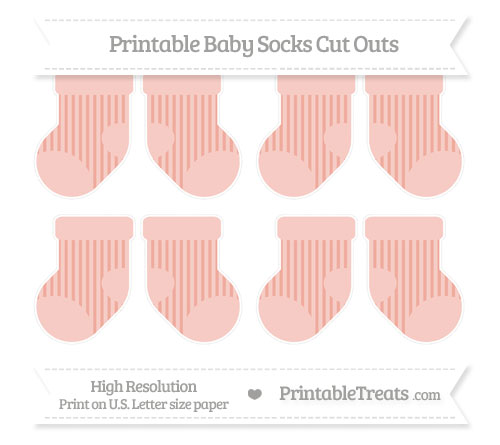 Free Pastel Coral Striped Small Baby Socks Cut Outs