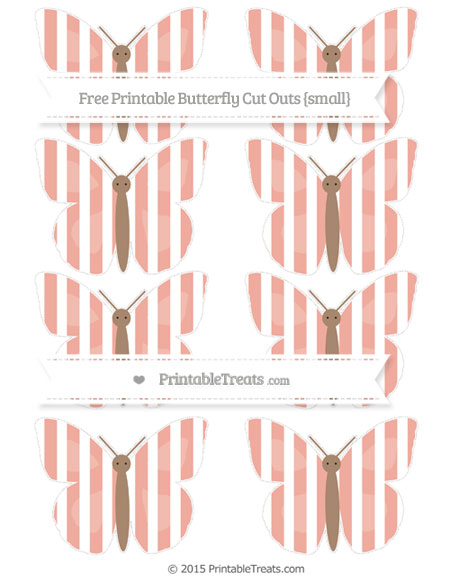 Free Pastel Coral Striped Small Butterfly Cut Outs