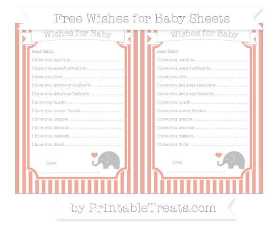 Free Pastel Coral Thin Striped Pattern Baby Elephant Wishes for Baby Sheets