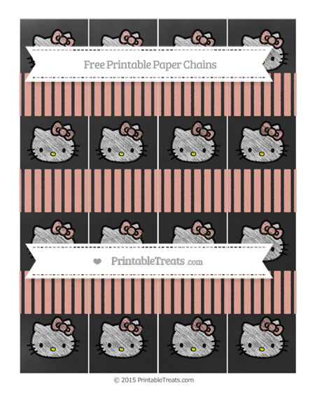 Free Pastel Coral Thin Striped Pattern Chalk Style Hello Kitty Paper Chains