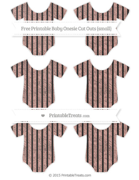 Free Pastel Coral Thin Striped Pattern Chalk Style Small Baby Onesie Cut Outs