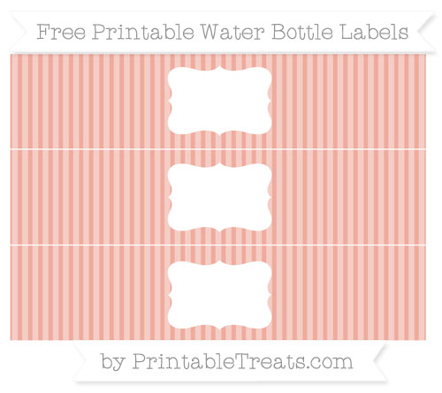 Free Pastel Coral Thin Striped Pattern Water Bottle Labels