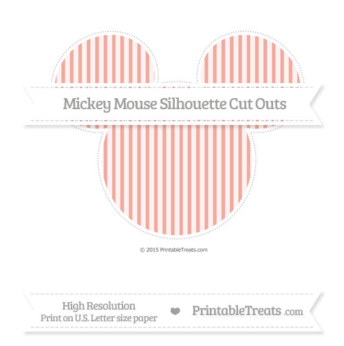 Free Pastel Coral Thin Striped Pattern Extra Large Mickey Mouse Silhouette Cut Outs